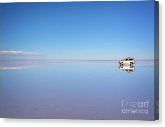 Andes Mountains Canvas Print - Miror Effect In Salar De Uyuni, Bolivia by Delphimages Photo Creations