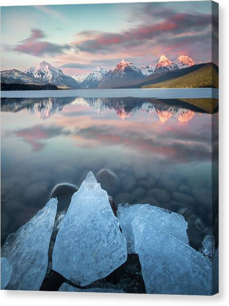 Canvas Print featuring the photograph Mirrored Reflection / Lake Mcdonald, Glacier National Park  by Nicholas Parker