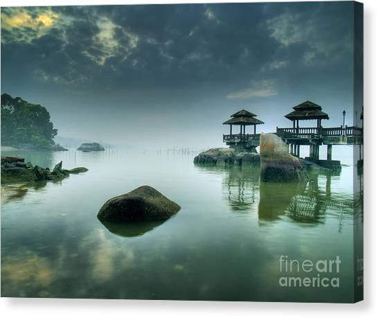 Tides Canvas Print - Misty Morning As Seen Over Rocks by Lawrence Wee