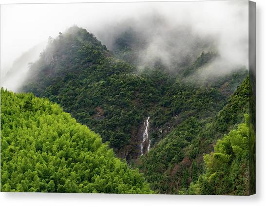 Misty Mountain Waterfall Canvas Print