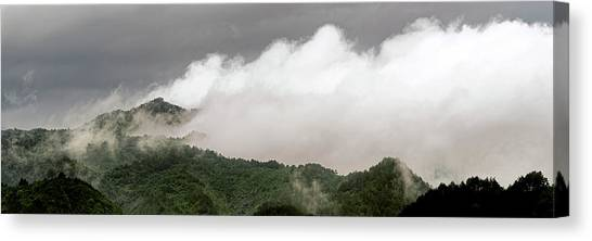 Canvas Print featuring the photograph Misty Mountains II 3x1 by William Dickman