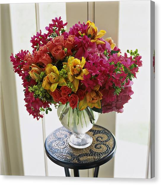 Vase Of Flowers Canvas Print - Mixed Arrangement In Decorative Vase On by Richard Felber