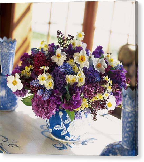 Vase Of Flowers Canvas Print - Mixed Posy Vase Arrangement by Richard Felber
