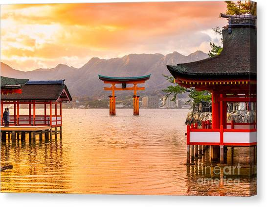 Tides Canvas Print - Miyajima, The  Famous Floating Torii by Luciano Mortula - Lgm