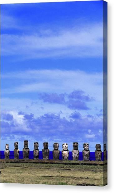 Moai At Ahu Tongariki, Easter Island Canvas Print by Buena Vista Images