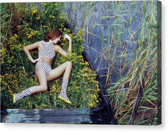 Model In A Fish Scale Patterned Bikini And Boots Canvas Print by Gordon Parks