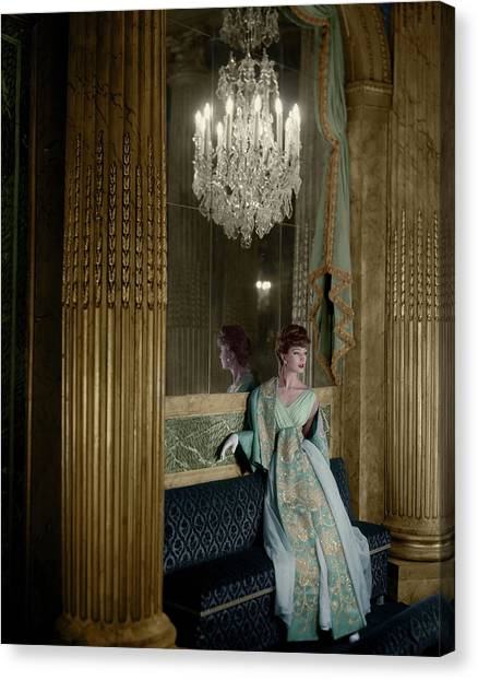 Model In A Lanvin-castillo Dress Canvas Print