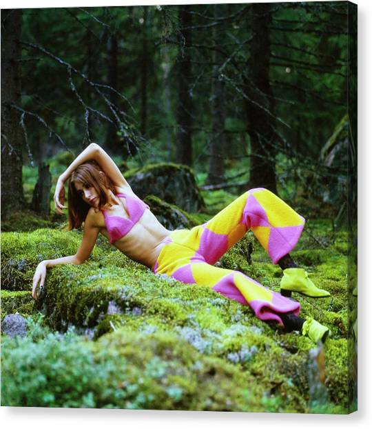Model In A Pink Bikini Top And Pants In Finnish Forest Canvas Print by Gordon Parks