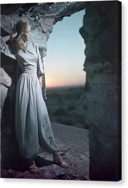 Model In Claire Mccardell Trouser Set At Twilight Canvas Print by Serge Balkin