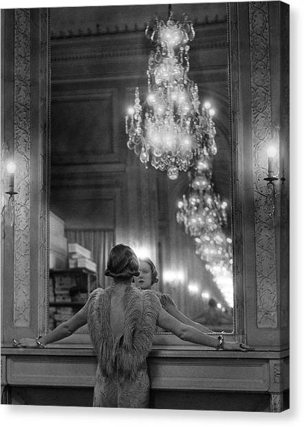 Model In Ostrich Feather-trimmed Gown Pa Canvas Print