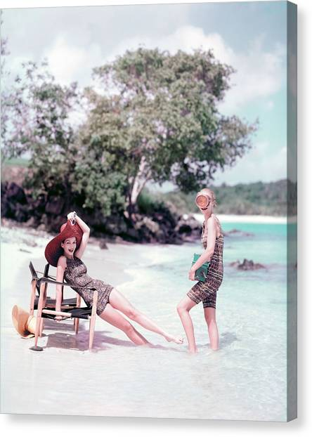 Models At The Beach In St. John Canvas Print by Richard Rutledge