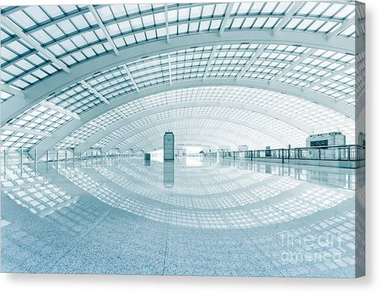 Modern Hall Of Subway Station  At T3 Canvas Print by Ssguy
