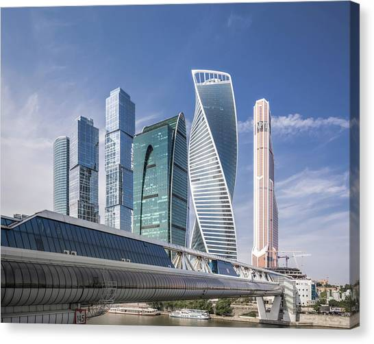 Modern Skyscrapers In Moscow Canvas Print by Yongyuan Dai