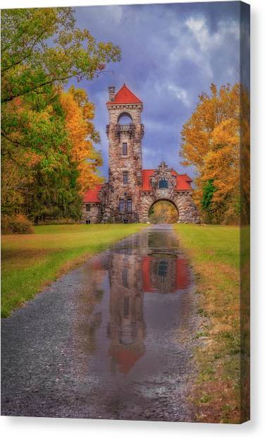 Canvas Print featuring the photograph Mohonk Preserve Gatehouse  Ny Fall  by Susan Candelario