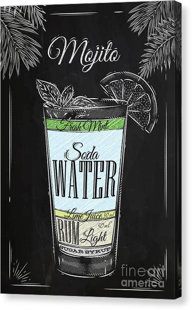Ingredient Canvas Print - Mojito Cocktail In Vintage Style by Anna42f