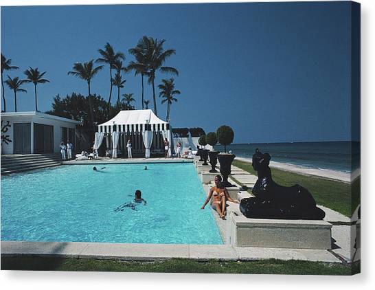 Molly Wilmots Pool Canvas Print by Slim Aarons