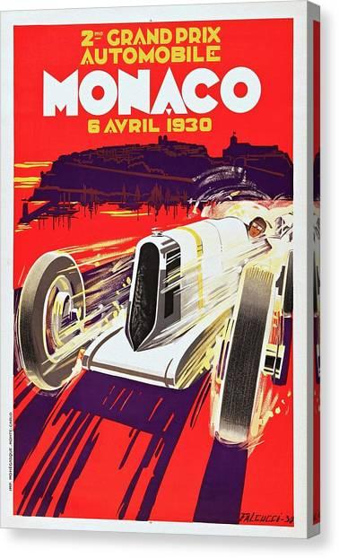 Monaco Grand Prix 1930, Vintage Racing Poster Canvas Print