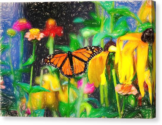 Monarch Butterfly Colored Pencil Canvas Print