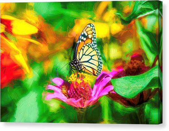 Monarch Butterfly Impasto Colorful Canvas Print