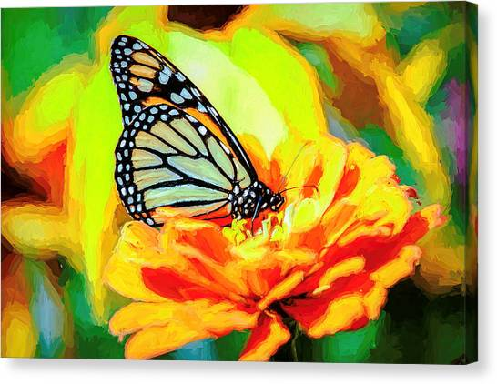 Monarch Butterfly Van Gogh Style Canvas Print