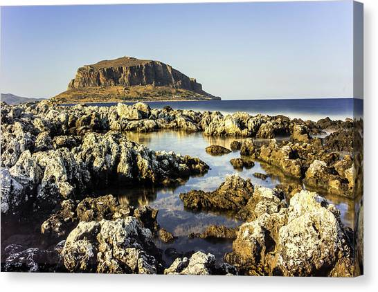 Canvas Print featuring the photograph Monemvasia Rock by Milan Ljubisavljevic
