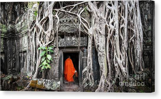 Worship Canvas Print - Monk In Angkor Wat Cambodia. Ta Prohm by Banana Republic Images