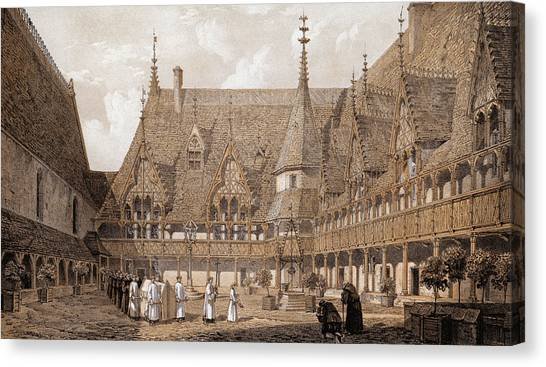 Monks At The Hotel Dieu Canvas Print by Hulton Archive