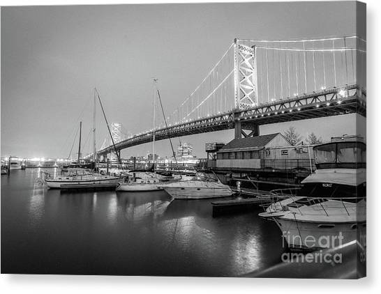 Monochrome Marina  Canvas Print