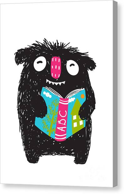 Student Canvas Print - Monster Reading Abc Book Cartoon For by Popmarleo