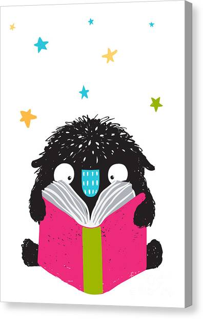 Student Canvas Print - Monster Reading Book Cartoon For Kids by Popmarleo