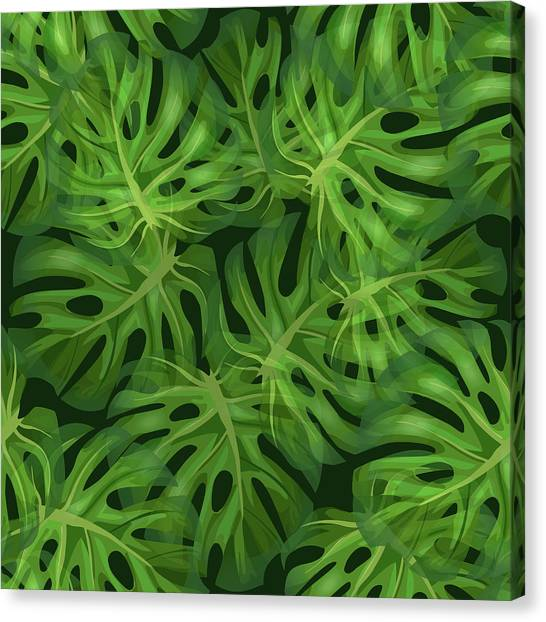 Blossom Canvas Print - Monstera Leaf Pattern 1 - Tropical Leaf Pattern - Dark Green - Tropical, Botanical Pattern Design by Studio Grafiikka