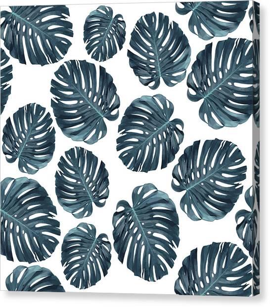 Blossom Canvas Print - Monstera Leaf Pattern - Tropical Leaf Pattern - Blue - Tropical, Botanical - Modern, Minimal Decor 1 by Studio Grafiikka