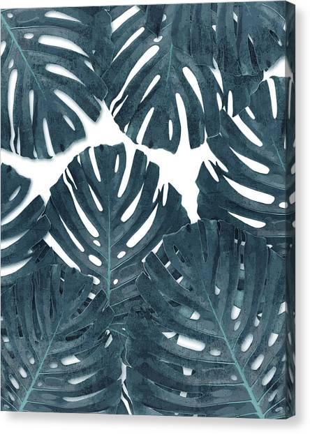 Blossom Canvas Print - Monstera Leaf Pattern - Tropical Leaf Pattern - Blue - Tropical, Botanical - Modern, Minimal Decor by Studio Grafiikka