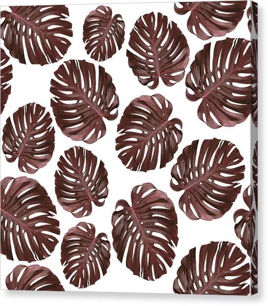 Blossom Canvas Print - Monstera Leaf Pattern - Tropical Leaf Pattern - Brown, Red - Tropical, Botanical - Modern, Minimal by Studio Grafiikka