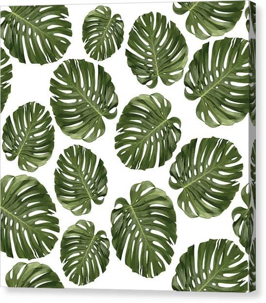 Blossom Canvas Print - Monstera Leaf Pattern - Tropical Leaf Pattern - Green - Tropical, Botanical - Modern, Minimal - 1 by Studio Grafiikka