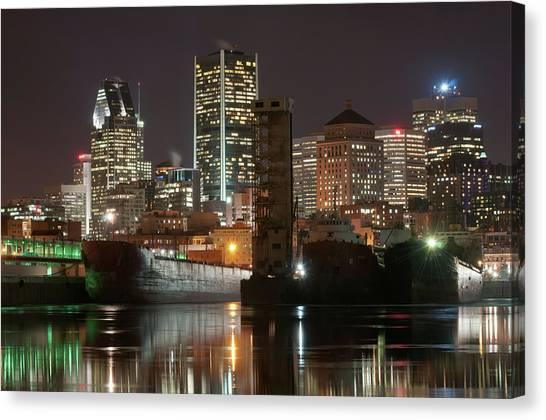 Montréal Port Et Centre Ville De Nuit Canvas Print by Philippe Dufag Photography