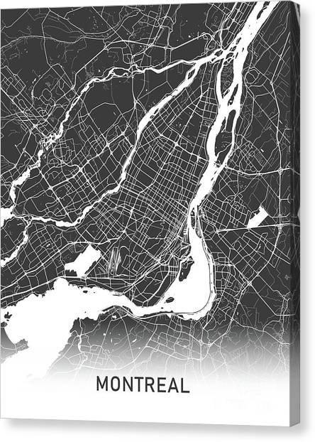 Quebec City Canvas Print - Montreal Map Black And White by Delphimages Photo Creations