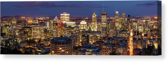 Canvas Print featuring the photograph Montreal Panorama At Night by Pierre Leclerc Photography