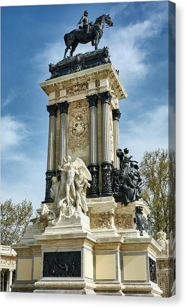 Monument To King Alfonso Xii At Retiro Park In Madrid, Spain Canvas Print