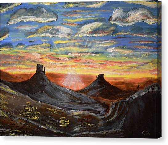 Canvas Print featuring the painting Monument Valley And Kokopelli by Chance Kafka