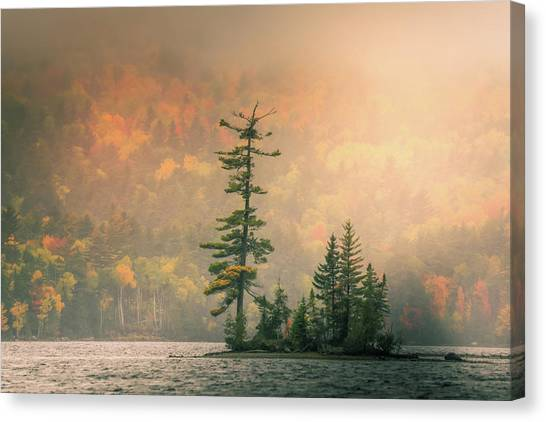 Canvas Print featuring the photograph Moody Autumn Morning On Moosehead Lake by Dan Sproul