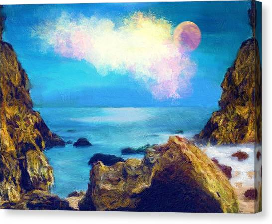 Full Moon Canvas Print - Moon And Sea by ArtMarketJapan