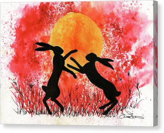 Canvas Print - Moon Hares by John Silver