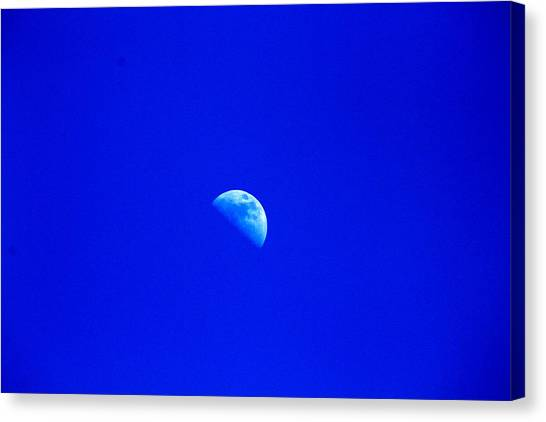 Moon In A Daytime Sky Canvas Print