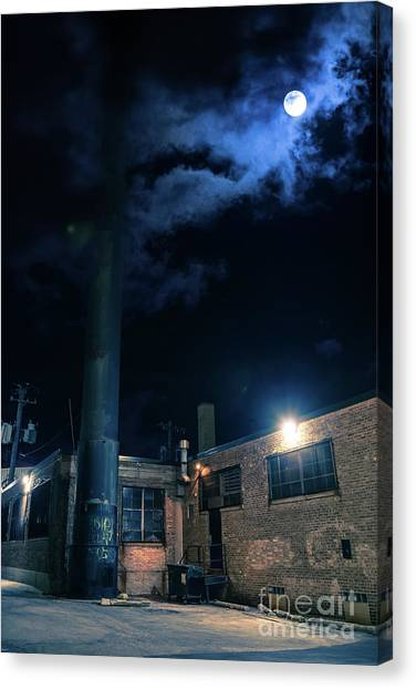 Shadow Canvas Print - Moon Over Industrial Chicago Alley by Bruno Passigatti
