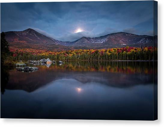 Moon Set At Sandy Stream Pond, Baxter State Park Canvas Print