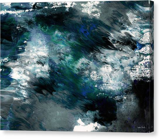 Fluids Canvas Print - Moonlight Ocean- Abstract Art By Linda Woods by Linda Woods