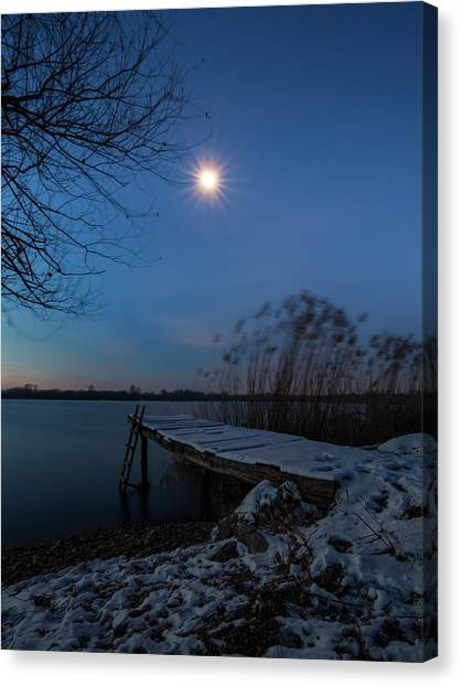 Canvas Print featuring the photograph Moonlight Over The Lake by Davor Zerjav