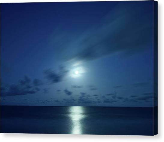 Moonrise Over The Sea Canvas Print