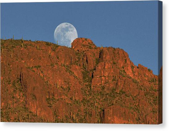 Canvas Print featuring the photograph Moonrise Over The Tucson Mountains by Chance Kafka